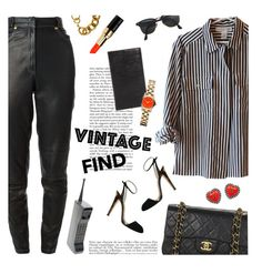 """vintage finds"" by jesuisunlapin ❤ liked on Polyvore featuring Versace, Chanel, Ray-Ban, Bobbi Brown Cosmetics, Louis Vuitton, Gucci, Marc by Marc Jacobs, Anja and vintage"