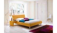 Frisches Polsterbett Marlena in strahlendem Gelb. Frühling bei Möbel Mahler! / bed in bright yellow
