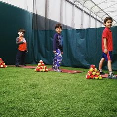 """Our advanced Cub Cadets are practicing their service toss in a modified version of our Teddy Tennis game called """"Grizzly Wizzly""""! #TeddyTennis #SportMusicFun"""