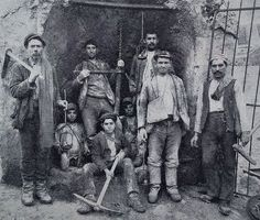 Sicilian sulphur miners. The 13 - 17 year old mine-boys - the carusi ...