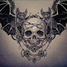 Skull and bats. I LOVE THIS. Tattoo idea maybe?