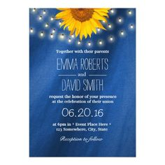 Country Sunflower & String Lights Wedding Invitation Card | Rustic Country, Navy Blue and Yellow Wedding