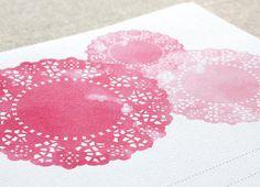 Shabby Chic Invitation Set - Pink Doily Watercolours - 10 Pack. $20.00, via Etsy.