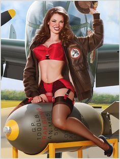 Aviation Pin Ups Riding the Bomb