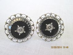 ART DECO OBSIDIAN GLASS INTAGLIO MEXICO STERLING SILVER 925 EARRINGS SIGNED