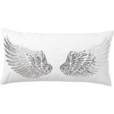 PB Teen Junk Gypsy Pillow Collection, Sparkle Wings ($40) ❤ liked on Polyvore featuring home, home decor, throw pillows, white home decor, white toss pillows, pbteen, white throw pillows and white accent pillows