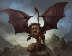 O mito da Mantícora era de origem Persa, onde seu nome significa ''O devorador de homens'', depois entrou para o folclore Europeu depois da observação de um medico grego, que contou a historia da estranha criatura.