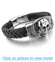 JBlue Jewelry Men's Stainless Steel Leather Bracelet Bangle Silver Black Skull Cross Gothic (with Gift Bag)