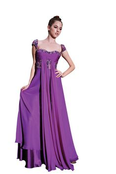 Farah in Purple Jeweled Evening Dresses (56168)  £135.00 Magical purple evening dress featuring sleeveless A line silhouette, jeweled bodice with colourful beading, sweetheart neckline, woven chiffon overlay, and embellished shoulder straps.