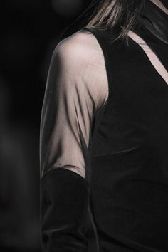 Velvet dress with sheer shoulder detail; runway fashion closeup // Damir Doma