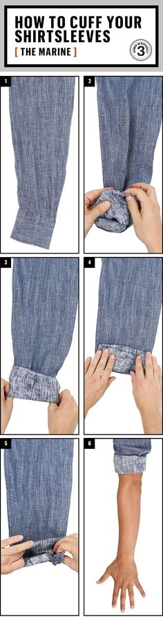 Different ways on how to roll up your sleeves.