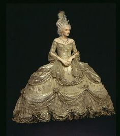 "Elaborate court costume designed by Gilbert Adrian for Norma Shearer in MGM's ""Marie Antoinette,"" 1938"