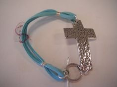 Aqua leather bracelet with hammered silver by SerenityoftheSouth, $24.00