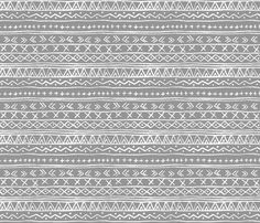 Chalk Tribal Stripe (gray) fabric by leanne on Spoonflower - custom fabric