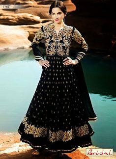 Appealing Black Resham Net Party Wear Anarkali Suit