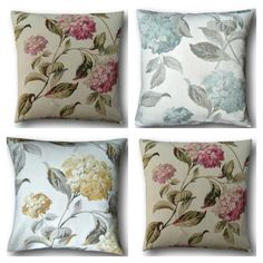 Cushion Covers Handmade With Laura Ashley's Hydrangea Pink Blue Yellow Scatter