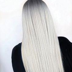 Dark Roots Blonde Hair, White Blonde Hair, Ice Blonde, Blonde Hair Looks, Platinum Blonde Hair, Dark Hair, Ashy Blonde Highlights, Brown Hair, White Hair Treatment
