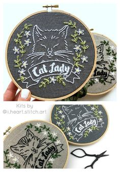 hand-embroidery-kit-embroidery-kit-diy-embroidery-diy-embroidery-kit-cat-lady-embroidery-pattern-modern-embroidery-kit-cat-embroidery/ - The world's most private search engine Simple Embroidery Designs, Diy Embroidery Kit, Embroidery Patterns Free, Hand Embroidery Stitches, Modern Embroidery, Silk Ribbon Embroidery, Cross Stitch Embroidery, Machine Embroidery Designs, Viking Embroidery
