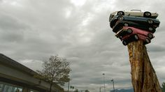 """The sculpture """"Trans Am Totem"""" by Marcus Bowcott. More info: http://www.vancouverbiennale.com/artworks/trans-am-totem/"""
