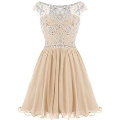 Dressystar Short Homecoming Party Dress Sparkling Bateau Prom Evening... ($95) ❤ liked on Polyvore featuring dresses, prom dresses, sparkly dresses, champagne prom dresses, champagne dress and champagne short dresses