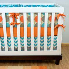 Crib Bedding, Baby Bedding, Orange Aqua Gray Dots Chevron Nursery