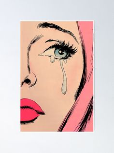 Vintage Sad Crying Girl Pop Art Pink Hair Pastel Goth Comic Romance' Poster by gravesnghouls - Pop Art Drawing, Art Drawings Sketches, Small Canvas Art, Diy Canvas Art, Art And Illustration, Gothic Kunst, Rose Pastel, Pastel Goth, Sad Girl Art
