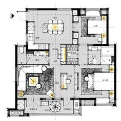 第四季绿地集团未来户型大赛21强揭晓 - 设计腕儿【腕儿线索】 Interior Architecture Drawing, Architecture Plan, Residential Architecture, Single Apartment, Apartment Plans, 3d House Plans, Luxury House Plans, Home Building Design, House Design