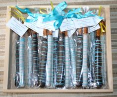 Chocolate covered pretzels for a delicious baby shower favor everyone loved....