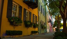 Rainbow Row Charleston SC   signed color matted by CharminglyDixie, $30.00