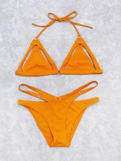 ab5a57b8389f6 Cutout Detail Cross Triangle Bikini Set -SheIn(Sheinside) Yellow Bikini