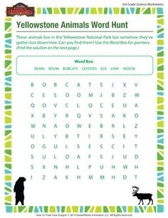 Yellowstone Animals Word Hunt - Printable 3rd Grade Science Worksheets for your Child
