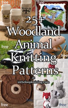 Woodland Animal Knitting Patterns- In the Loop Knitting Knitting Patterns Free Dog, Free Knitting, Free Pattern, Crochet Patterns, Knitting Toys, Knitting Ideas, Crochet Designs, Baby Patterns, Woodland Animals