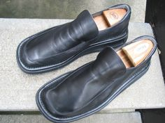 Bruno Magli Used Black Leather Casual Loafers 9