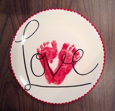 """Love"" Footprint Plate 
