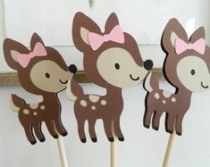 Girl Woodland Cupcake Toppers Girl Woodland Baby Shower