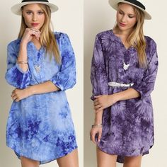 Arriving Soon Tie Dye Tunic Top Dress This bohemian tie dye tunic shirt dress has a loose fit and three-quarter sleeves. Sizes: Small, Medium, Large. Colors: Purple or Blue Comment below with size & color choice to purchase. I will create a new separate listing for you. Arrives Friday Dresses