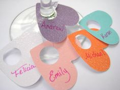 Heart Paper Wine Glass Tags Charms Markers by Flutters on Etsy, $8.00