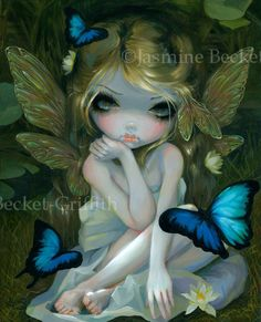 Lily butterfly lotus blossom waterlily fairy art print by Jasmine Becket-Griffith12x16 BIG on Etsy, $29.99