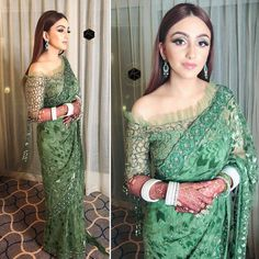 Reception Outfit Ideas Gorgeous green saree with one-sided off-shoulder blouse and overall work perfect for reception. Sari Blouse Designs, Saree Blouse Patterns, Fancy Blouse Designs, Sari Design, Indian Designer Outfits, Designer Dresses, Designer Sarees, Saree Designs Party Wear, Pakistani Bridal Dresses