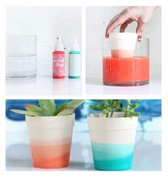 Técnica para colorir e personalizar vasos de barro para plantas. Happy Party, Planter Pots, Container, Ohana, Painting, Gardening, Gifts, Ideas, Handmade Crafts