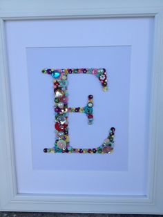 Personalized Button Letter Nursery Art - a bit more bling and 3D feel to this one.