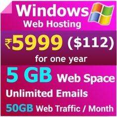 5GB Windows Hosting, Windows 2012, IIS8. $112 per year.