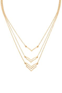 A set of three lightweight necklaces featuring chevron cutout and V-cut charms on high-polish chains with lobster clasps. #accessorize