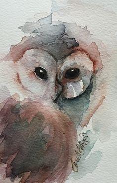 Owl Watercolor, Watercolor Pictures, Watercolor Animals, Watercolor Paintings, Watercolors, Owl Art, Bird Art, Motif Art Deco, Art Graphique