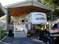 Porch For Camper, Rv Shelter, Trailer Deck, Rv Carports, Rv Lots, Camper Trailers, Travel Trailers, Small Rv Trailers, Remodeled Campers