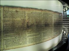 Dead Sea Scroll Of Isaiah in Israel. One of the best-kept scrolls found at Qumran.