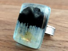 Fused glass ring  Rectangular glass ring Adjustable by BGLASSbcn