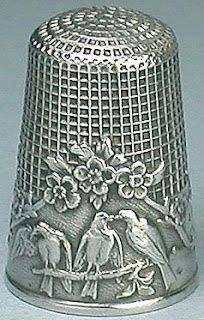 """Antique French Sterling Silver Fable Thimble  """"Three Birds on a Branch"""" design, ca. 1900"""