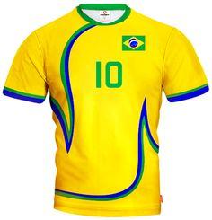 ACTIVE 2014/15 Volleyball Trikot in Nationalfarben mit Wunschnamen und Wunschnummer Brasilien