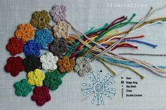 Crochet : Flower Mania - Chart  ❥ 4U hilariafina  http://www.pinterest.com/hilariafina/